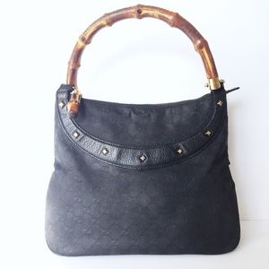 Gucci bamboo handle monogram canvas hobo bag